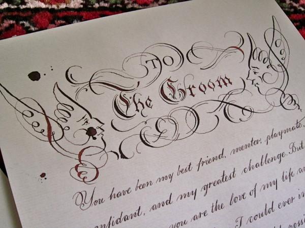 Calligraphed wedding vows eighteen seventy eight