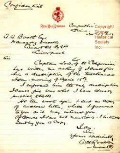 Captain Rostron's Confidential Letter